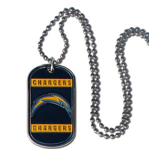 """San Diego Chargers Tag Necklace - Expertly crafted San Diego Chargers tag necklaces featuring fine detailing and a hand enameled finish with chrome accents. 26""""Chain.  Officially licensed NFL product Licensee: Siskiyou Buckle .com"""