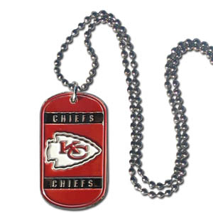 "Kansas City Chiefs Tag Necklace - Expertly crafted Kansas City Chiefs tag necklaces featuring fine detailing and a hand enameled finish with chrome accents. 26""Chain.  Officially licensed NFL product Licensee: Siskiyou Buckle Thank you for visiting CrazedOutSports.com"