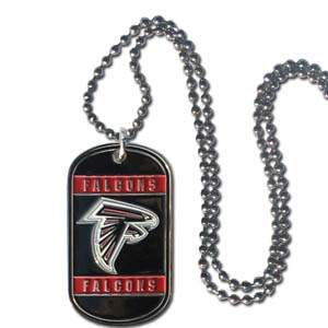 "Atlanta Falcons Tag Necklace - Expertly crafted Atlanta Falcons tag necklaces featuring fine detailing and a hand enameled finish with chrome accents. 26""Chain.  Officially licensed NFL product Licensee: Siskiyou Buckle .com"