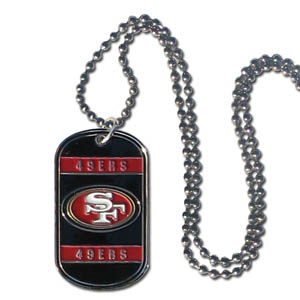 "San Francisco 49ers Tag Necklace - Expertly crafted San Francisco 49ers tag necklaces featuring fine detailing and a hand enameled finish with chrome accents. 26""Chain.  Officially licensed NFL product Licensee: Siskiyou Buckle .com"