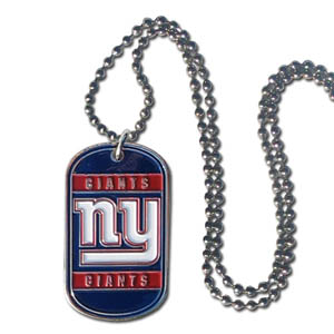 "New York Giants Tag Necklace - Expertly crafted New York Giants tag necklaces featuring fine detailing and a hand enameled finish with chrome accents. 26""Chain.  Officially licensed NFL product Licensee: Siskiyou Buckle .com"