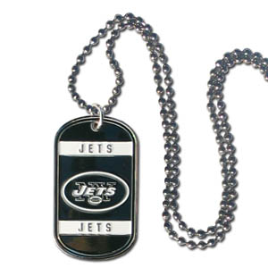 "New York Jets Tag Necklace - Expertly crafted New York Jets tag necklaces featuring fine detailing and a hand enameled finish with chrome accents. 26""Chain.  Officially licensed NFL product Licensee: Siskiyou Buckle Thank you for visiting CrazedOutSports.com"