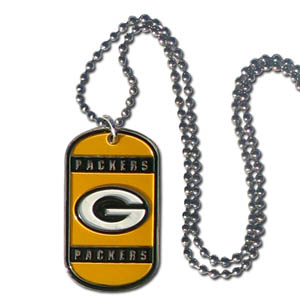 "Green Bay Packers Tag Necklace - Expertly crafted Green Bay Packers tag necklaces featuring fine detailing and a hand enameled finish with chrome accents. 26""Chain.  Officially licensed NFL product Licensee: Siskiyou Buckle Thank you for visiting CrazedOutSports.com"
