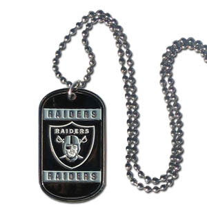 "Oakland Raiders Tag Necklace - Expertly crafted Oakland Raiders tag necklaces featuring fine detailing and a hand enameled finish with chrome accents. 26""Chain.  Officially licensed NFL product Licensee: Siskiyou Buckle Thank you for visiting CrazedOutSports.com"