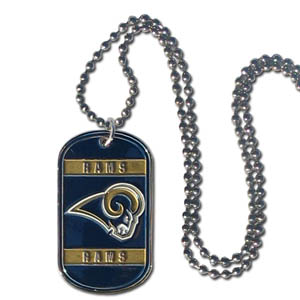 "Los Angeles Rams Tag Necklace - Expertly crafted Los Angeles Rams tag necklaces featuring fine detailing and a hand enameled finish with chrome accents. 26""Chain.  Officially licensed NFL product Licensee: Siskiyou Buckle .com"