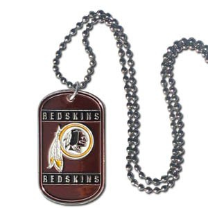 "Washington Redskins Tag Necklace - Expertly crafted Washington Redskins tag necklaces featuring fine detailing and a hand enameled finish with chrome accents. 26""Chain.  Officially licensed NFL product Licensee: Siskiyou Buckle Thank you for visiting CrazedOutSports.com"