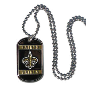 "New Orleans Saints Tag Necklace - Expertly crafted New Orleans Saints tag necklaces featuring fine detailing and a hand enameled finish with chrome accents. 26""Chain.  Officially licensed NFL product Licensee: Siskiyou Buckle .com"