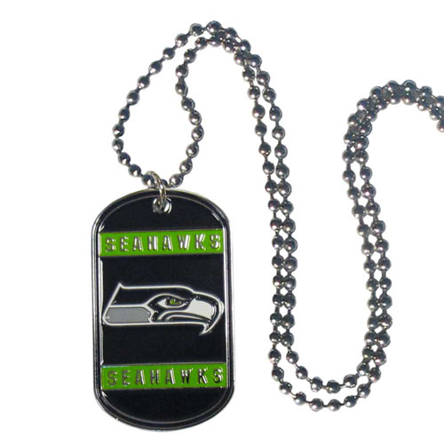 "Seattle Seahawks Tag Necklace - Expertly crafted Seattle Seahawks tag necklaces featuring fine detailing and a hand enameled finish with chrome accents. 26""Chain.  Officially licensed NFL product Licensee: Siskiyou Buckle Thank you for visiting CrazedOutSports.com"