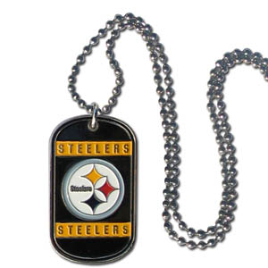 "Pittsburgh Steelers Tag Necklace - Expertly crafted Pittsburgh Steelers tag necklaces featuring fine detailing and a hand enameled finish with chrome accents. 26""Chain.  Officially licensed NFL product Licensee: Siskiyou Buckle .com"