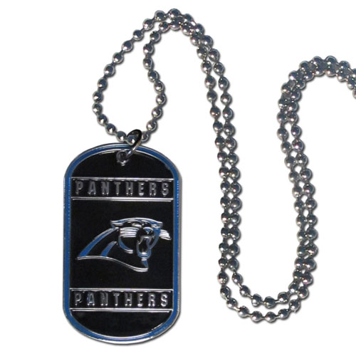 "Carolina Panthers Tag Necklace - Expertly crafted Carolina Panthers tag necklaces featuring fine detailing and a hand enameled finish with chrome accents. 26""Chain.  Officially licensed NFL product Licensee: Siskiyou Buckle .com"