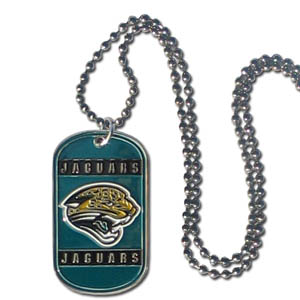 "Jacksonville Jaguars Tag Necklace - Expertly crafted Jacksonville Jaguars tag necklaces featuring fine detailing and a hand enameled finish with chrome accents. 26""Chain.  Officially licensed NFL product Licensee: Siskiyou Buckle Thank you for visiting CrazedOutSports.com"