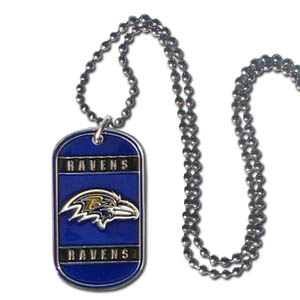 "Baltimore Ravens Tag Necklace - Expertly crafted Baltimore Ravens tag necklaces featuring fine detailing and a hand enameled finish with chrome accents. 26""Chain.  Officially licensed NFL product Licensee: Siskiyou Buckle Thank you for visiting CrazedOutSports.com"