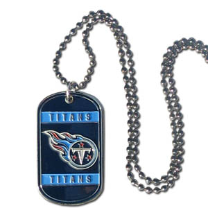 "Tennessee Titans Tag Necklace - Expertly crafted Tennessee Titans tag necklaces featuring fine detailing and a hand enameled finish with chrome accents. 26""Chain.  Officially licensed NFL product Licensee: Siskiyou Buckle .com"
