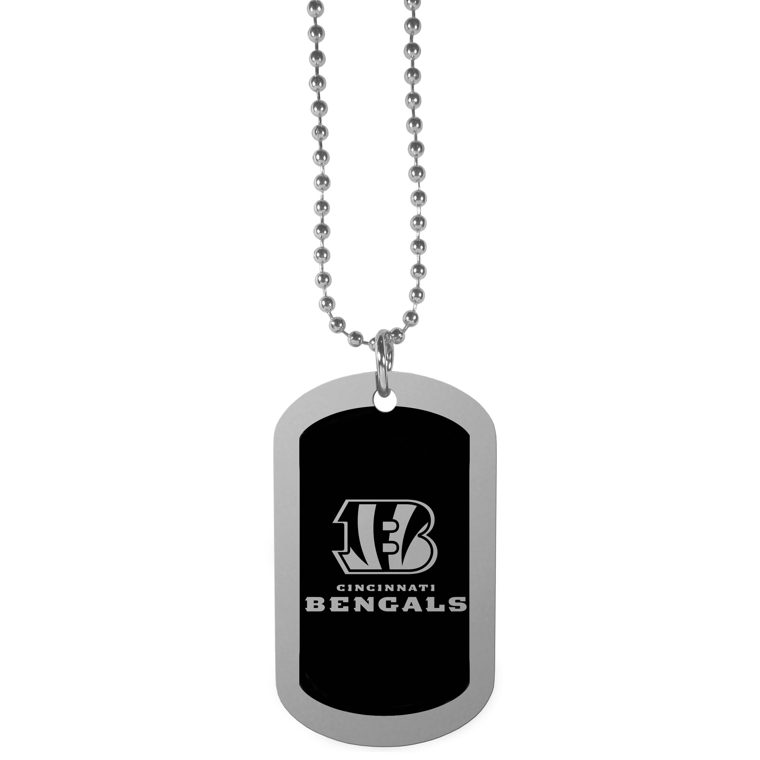 Cincinnati Bengals Chrome Tag Necklace - Dog tag necklaces are a fashion statement that is here to stay. The sporty version of the classic tag features a black printed over a high polish tag to create a bold and sporty look. The tag comes on a 26 inch ball chain with a ball and joint clasp. Any Cincinnati Bengals would be proud to wear this attractive fashion accessory.
