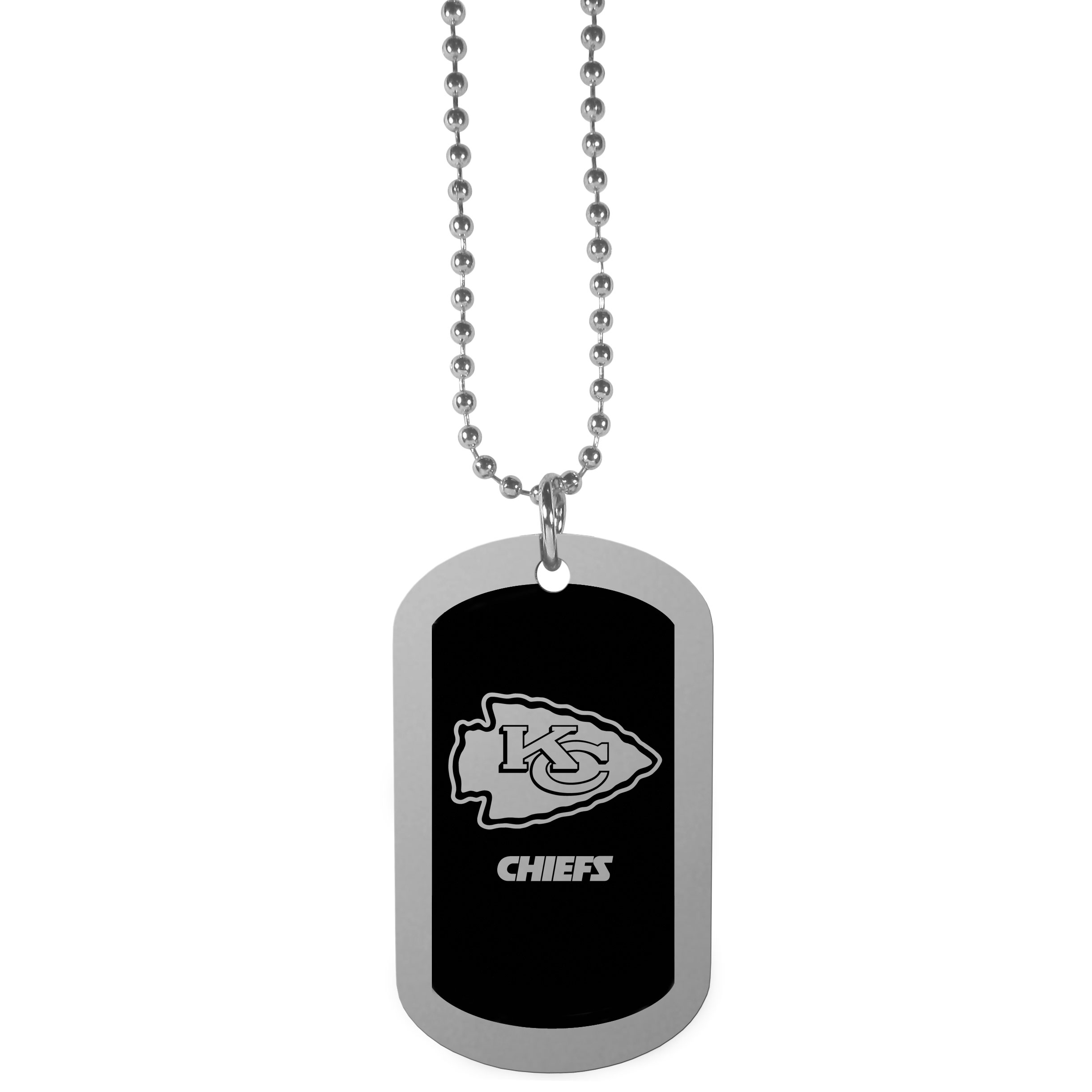 Kansas City Chiefs Chrome Tag Necklace - Dog tag necklaces are a fashion statement that is here to stay. The sporty version of the classic tag features a black printed over a high polish tag to create a bold and sporty look. The tag comes on a 26 inch ball chain with a ball and joint clasp. Any Kansas City Chiefs would be proud to wear this attractive fashion accessory.