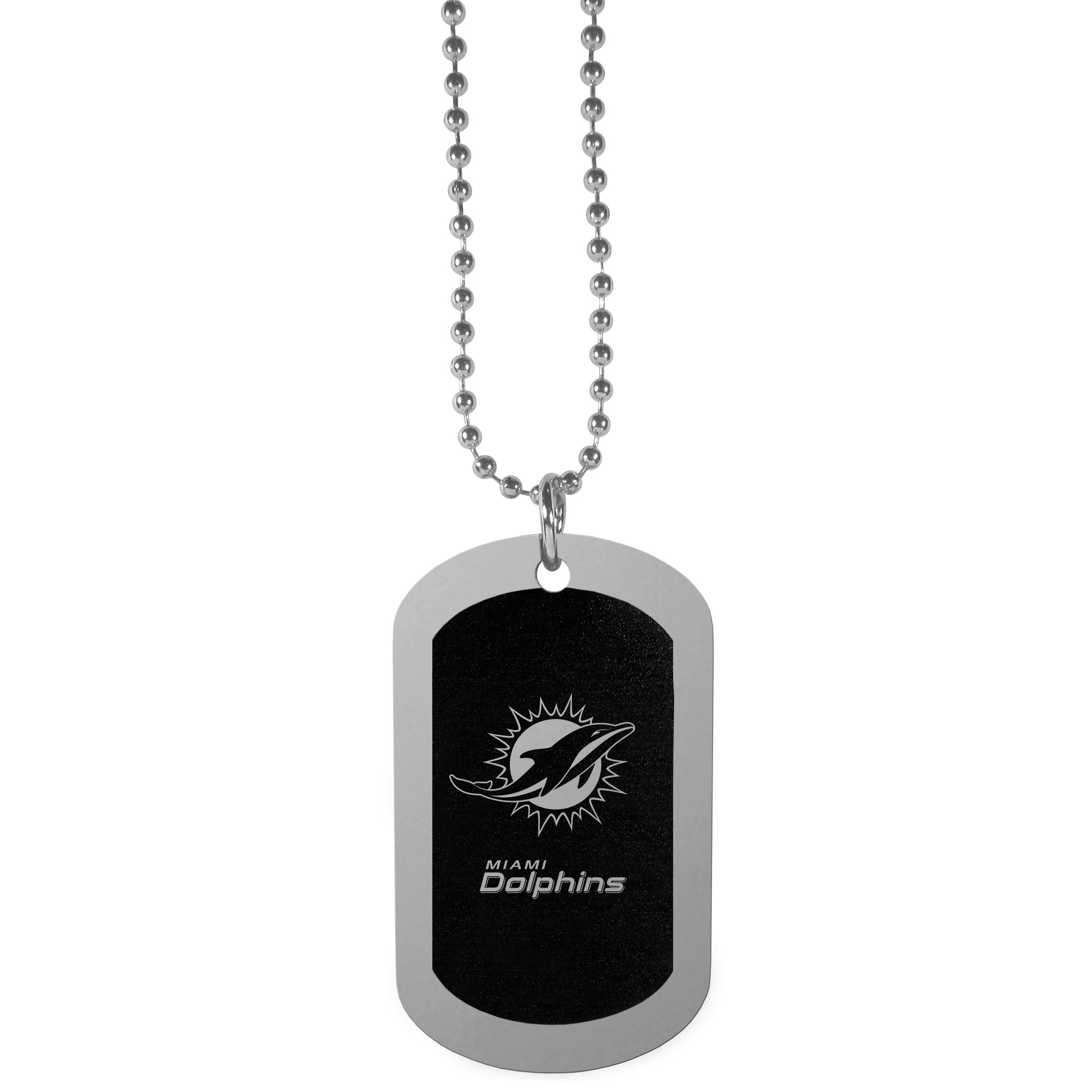 Miami Dolphins Chrome Tag Necklace - Dog tag necklaces are a fashion statement that is here to stay. The sporty version of the classic tag features a black printed over a high polish tag to create a bold and sporty look. The tag comes on a 26 inch ball chain with a ball and joint clasp. Any Miami Dolphins would be proud to wear this attractive fashion accessory.