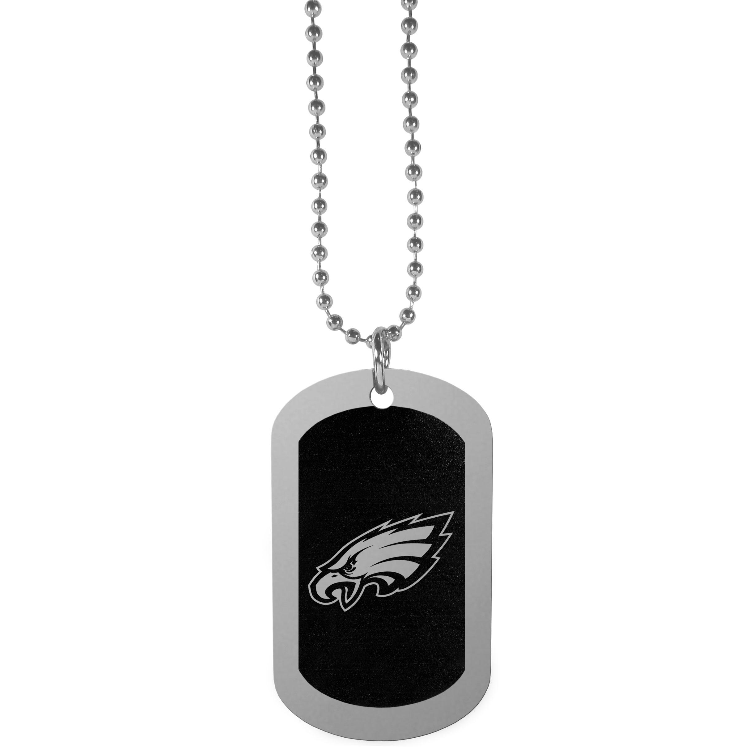 Philadelphia Eagles Chrome Tag Necklace - Dog tag necklaces are a fashion statement that is here to stay. The sporty version of the classic tag features a black printed over a high polish tag to create a bold and sporty look. The tag comes on a 26 inch ball chain with a ball and joint clasp. Any Philadelphia Eagles would be proud to wear this attractive fashion accessory.