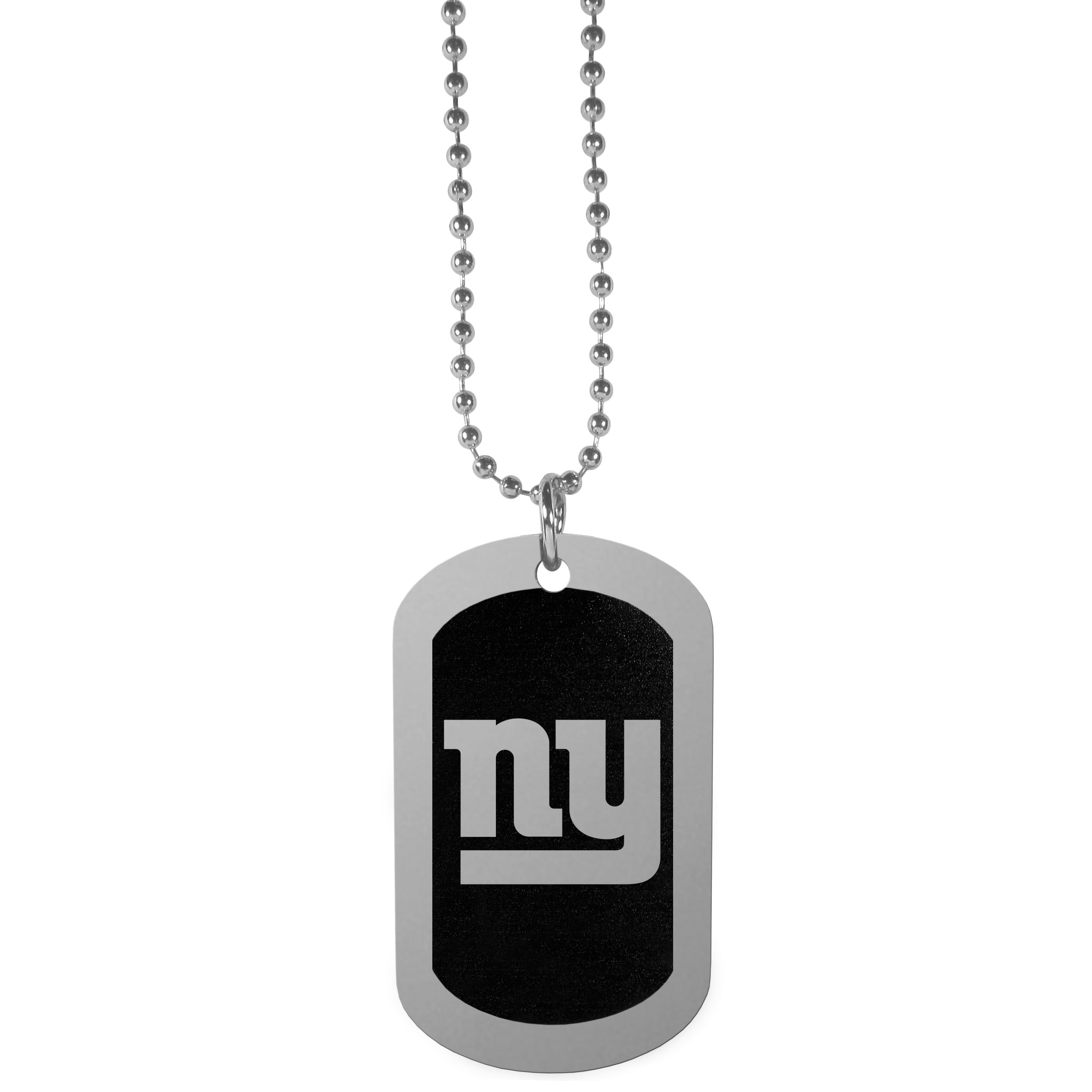 New York Giants Chrome Tag Necklace - Dog tag necklaces are a fashion statement that is here to stay. The sporty version of the classic tag features a black printed over a high polish tag to create a bold and sporty look. The tag comes on a 26 inch ball chain with a ball and joint clasp. Any New York Giants would be proud to wear this attractive fashion accessory.