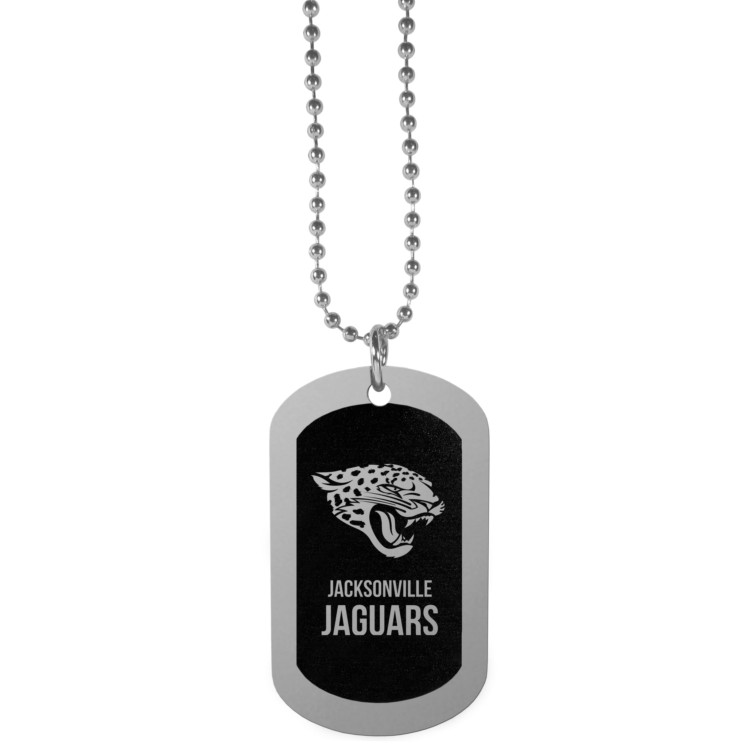 Jacksonville Jaguars Chrome Tag Necklace - Dog tag necklaces are a fashion statement that is here to stay. The sporty version of the classic tag features a black printed over a high polish tag to create a bold and sporty look. The tag comes on a 26 inch ball chain with a ball and joint clasp. Any Jacksonville Jaguars would be proud to wear this attractive fashion accessory.