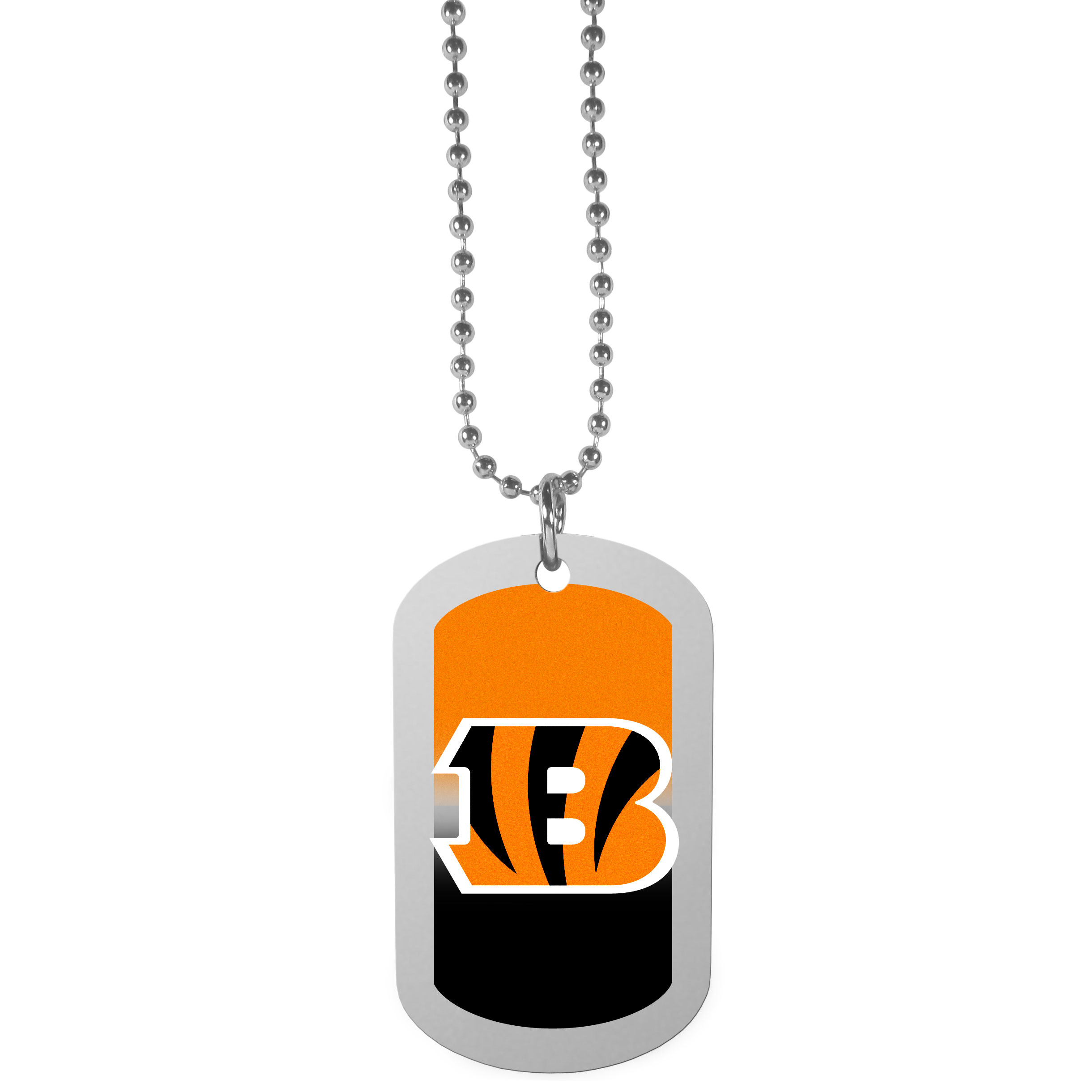 Cincinnati Bengals Team Tag Necklace - Dog tag necklaces are a fashion statement that is here to stay. The sporty version of the classic tag features a gradient print in team colors featuring a full color team logo over a high polish tag to create a bold and sporty look. The tag comes on a 26 inch ball chain with a ball and joint clasp. Any Cincinnati Bengals would be proud to wear this attractive fashion accessory.