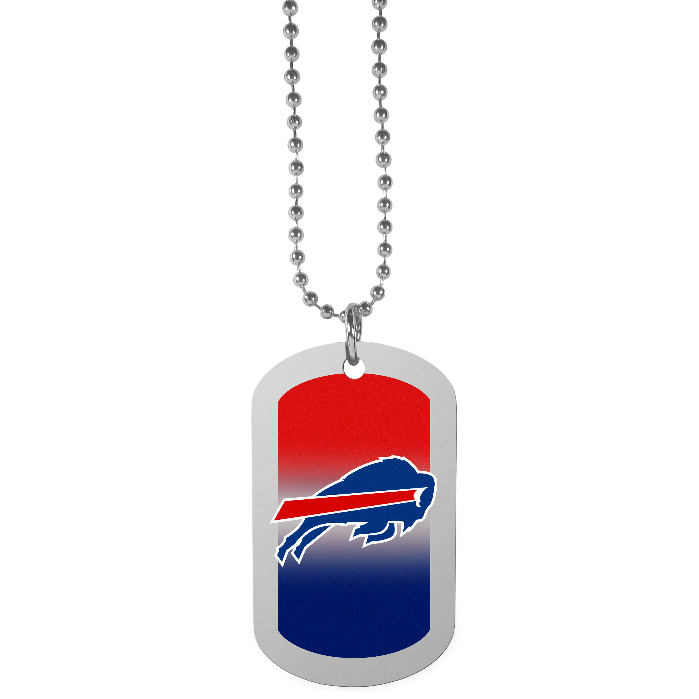 Buffalo Bills Team Tag Necklace - Dog tag necklaces are a fashion statement that is here to stay. The sporty version of the classic tag features a gradient print in team colors featuring a full color team logo over a high polish tag to create a bold and sporty look. The tag comes on a 26 inch ball chain with a ball and joint clasp. Any Buffalo Bills would be proud to wear this attractive fashion accessory.
