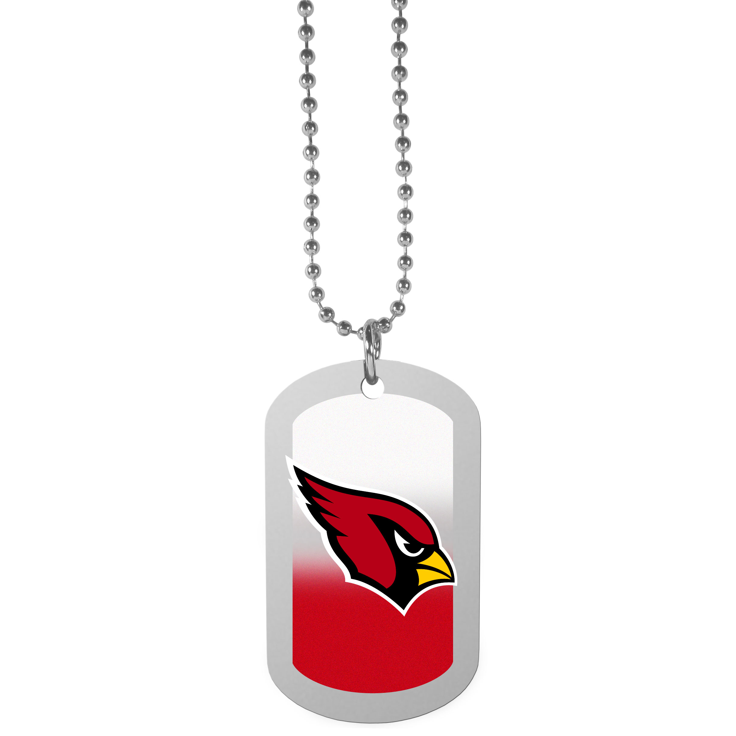 Arizona Cardinals Team Tag Necklace - Dog tag necklaces are a fashion statement that is here to stay. The sporty version of the classic tag features a gradient print in team colors featuring a full color team logo over a high polish tag to create a bold and sporty look. The tag comes on a 26 inch ball chain with a ball and joint clasp. Any Arizona Cardinals would be proud to wear this attractive fashion accessory.