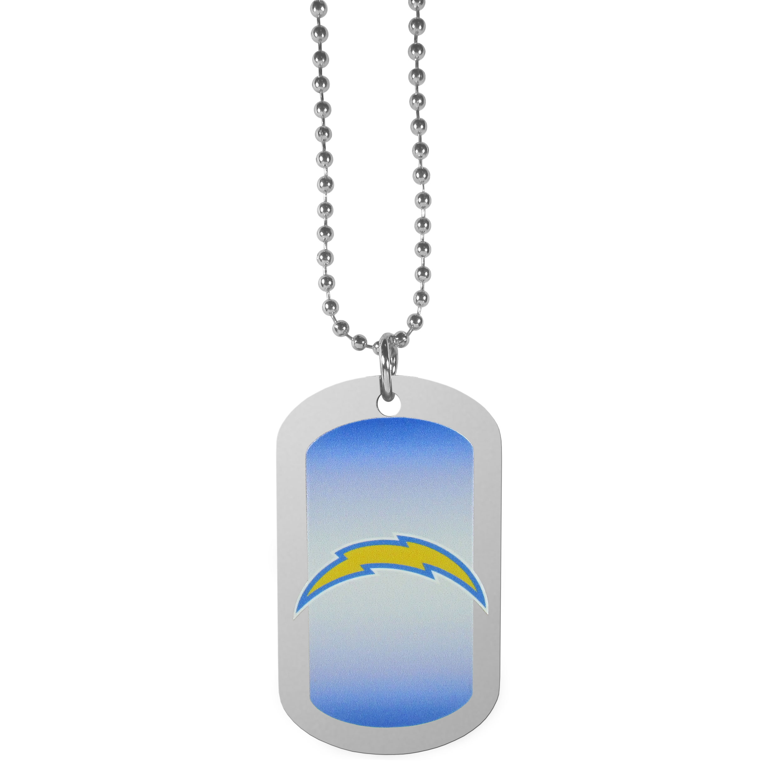 Los Angeles Chargers Team Tag Necklace - Dog tag necklaces are a fashion statement that is here to stay. The sporty version of the classic tag features a gradient print in team colors featuring a full color team logo over a high polish tag to create a bold and sporty look. The tag comes on a 26 inch ball chain with a ball and joint clasp. Any Los Angeles Chargers would be proud to wear this attractive fashion accessory.