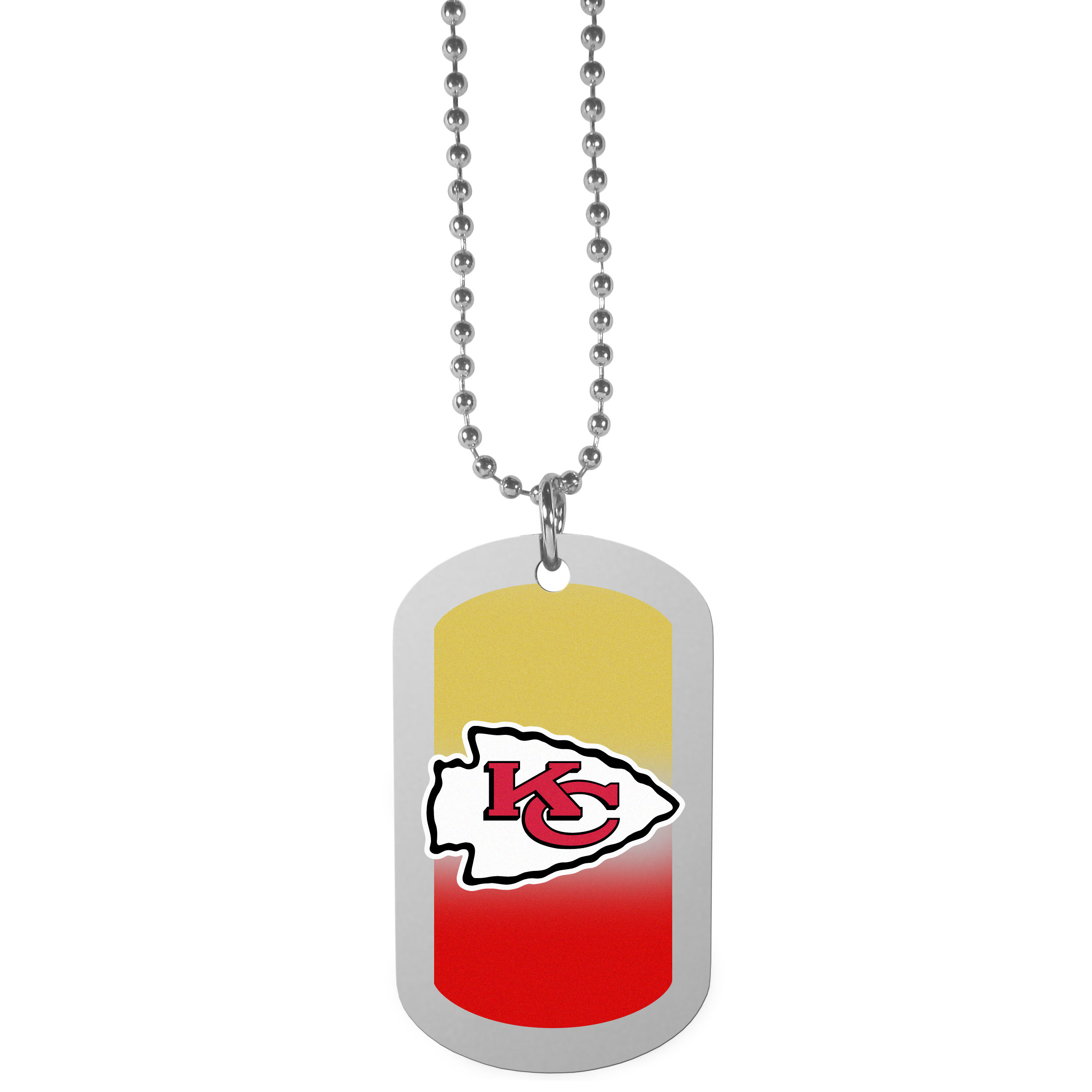 Kansas City Chiefs Team Tag Necklace - Dog tag necklaces are a fashion statement that is here to stay. The sporty version of the classic tag features a gradient print in team colors featuring a full color team logo over a high polish tag to create a bold and sporty look. The tag comes on a 26 inch ball chain with a ball and joint clasp. Any Kansas City Chiefs would be proud to wear this attractive fashion accessory.