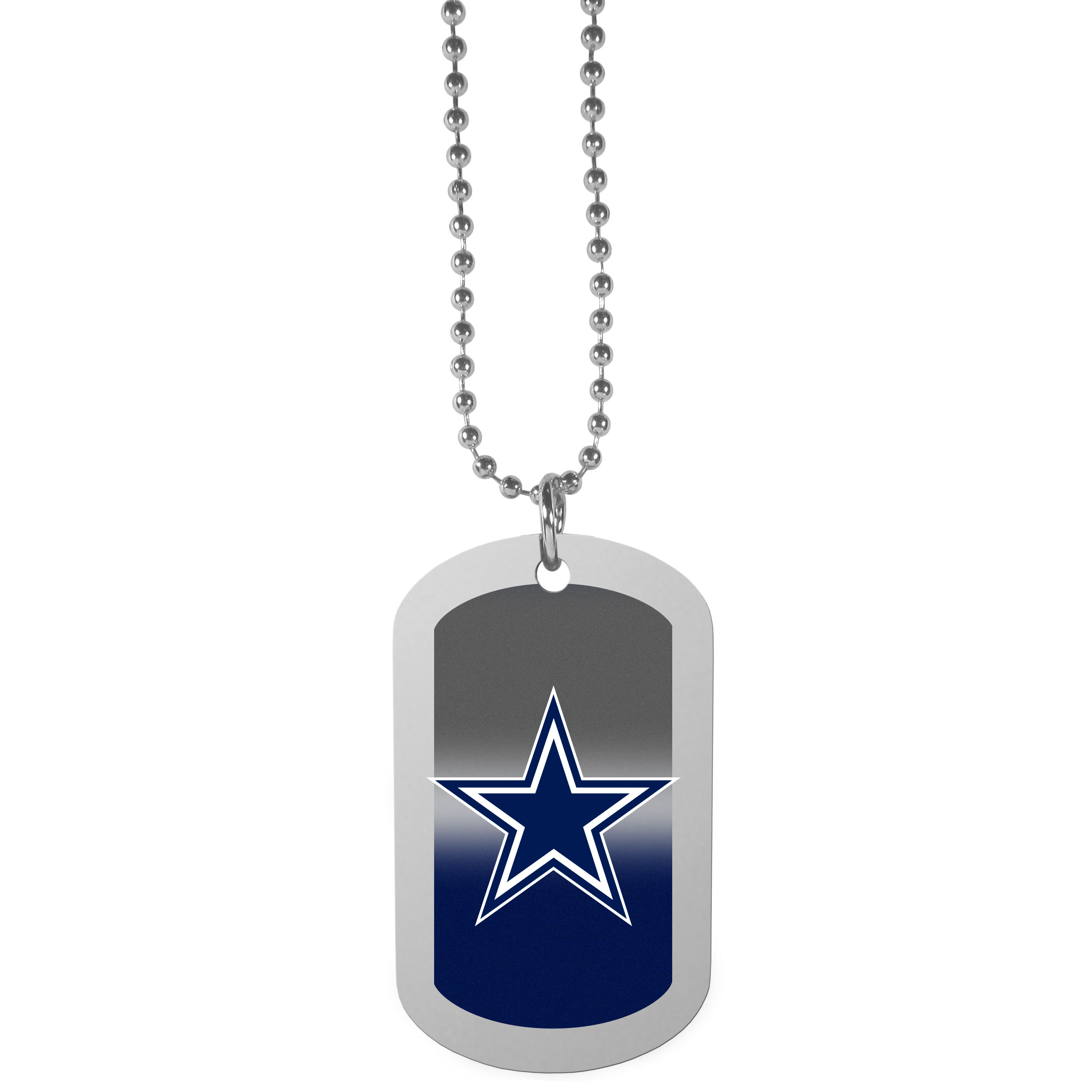 Dallas Cowboys Team Tag Necklace - Dog tag necklaces are a fashion statement that is here to stay. The sporty version of the classic tag features a gradient print in team colors featuring a full color team logo over a high polish tag to create a bold and sporty look. The tag comes on a 26 inch ball chain with a ball and joint clasp. Any Dallas Cowboys would be proud to wear this attractive fashion accessory.