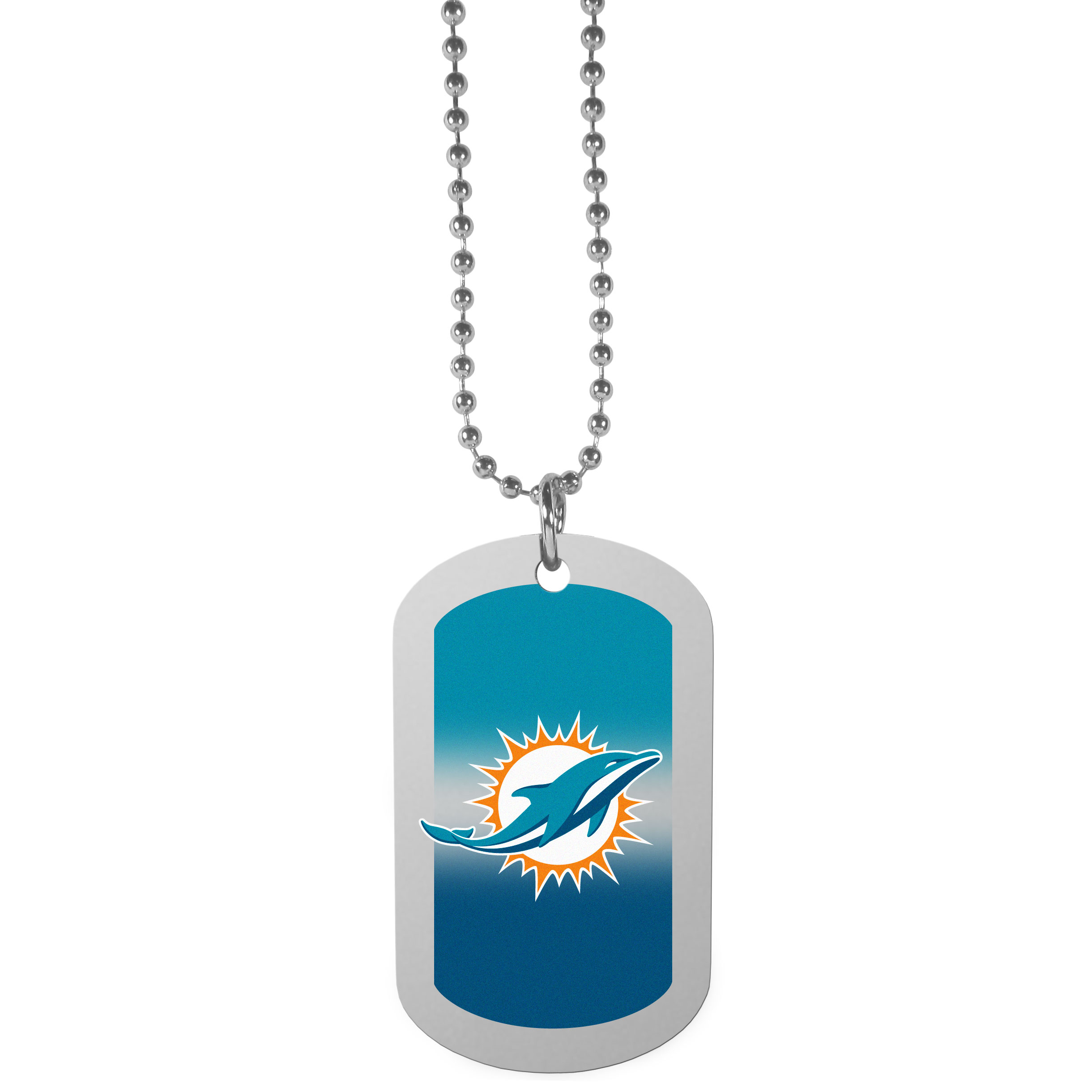 Miami Dolphins Team Tag Necklace - Dog tag necklaces are a fashion statement that is here to stay. The sporty version of the classic tag features a gradient print in team colors featuring a full color team logo over a high polish tag to create a bold and sporty look. The tag comes on a 26 inch ball chain with a ball and joint clasp. Any Miami Dolphins would be proud to wear this attractive fashion accessory.