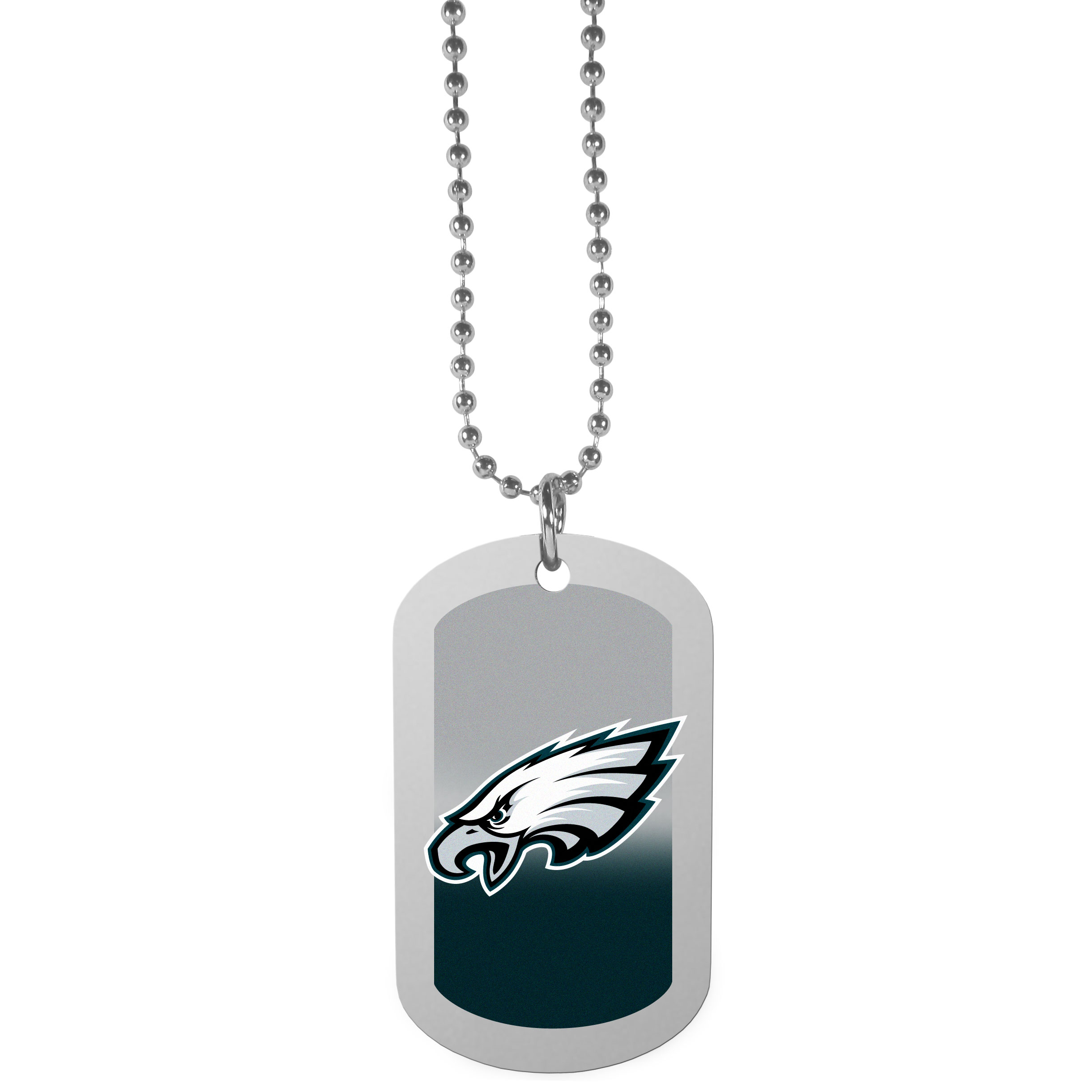Philadelphia Eagles Team Tag Necklace - Dog tag necklaces are a fashion statement that is here to stay. The sporty version of the classic tag features a gradient print in team colors featuring a full color team logo over a high polish tag to create a bold and sporty look. The tag comes on a 26 inch ball chain with a ball and joint clasp. Any Philadelphia Eagles would be proud to wear this attractive fashion accessory.