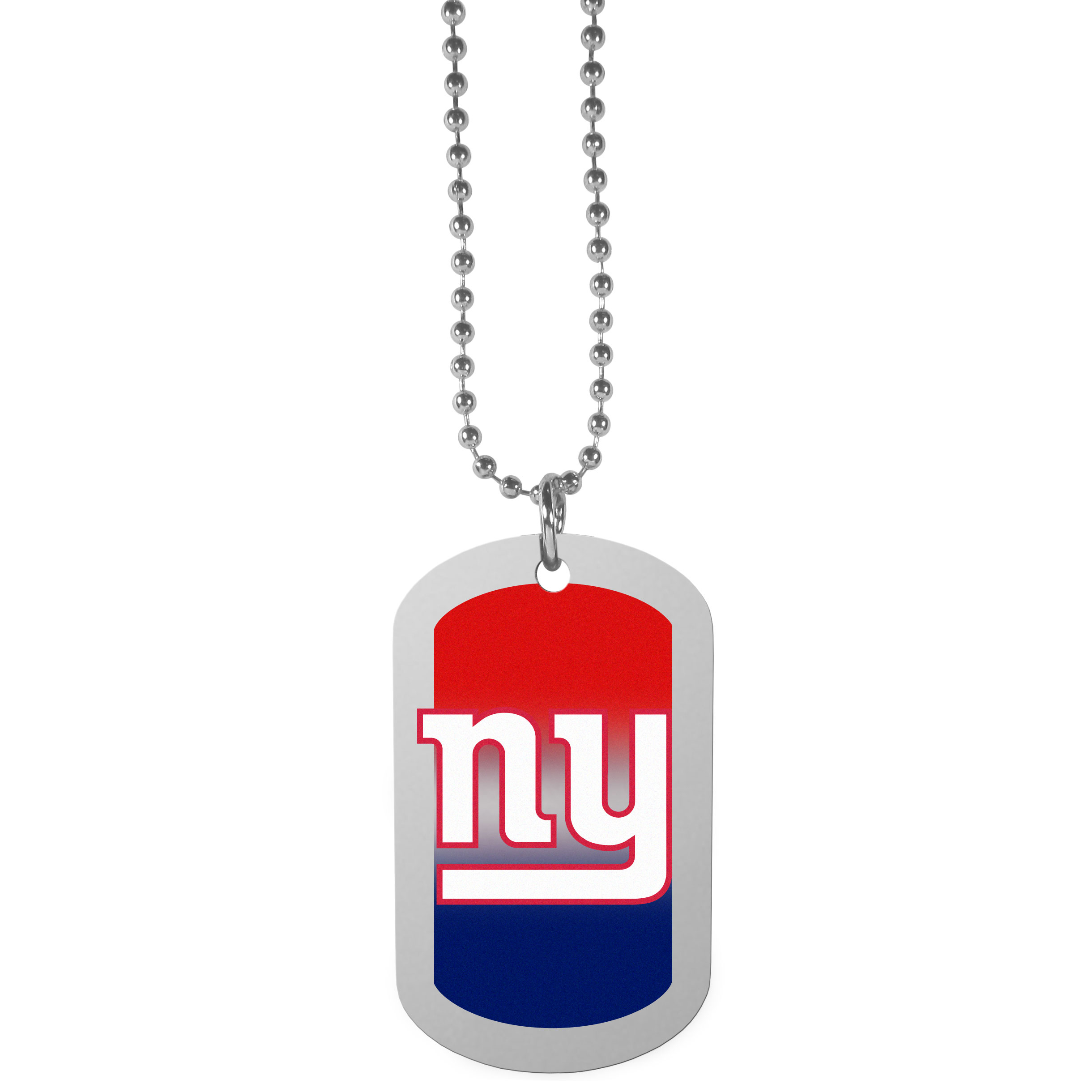 New York Giants Team Tag Necklace - Dog tag necklaces are a fashion statement that is here to stay. The sporty version of the classic tag features a gradient print in team colors featuring a full color team logo over a high polish tag to create a bold and sporty look. The tag comes on a 26 inch ball chain with a ball and joint clasp. Any New York Giants would be proud to wear this attractive fashion accessory.