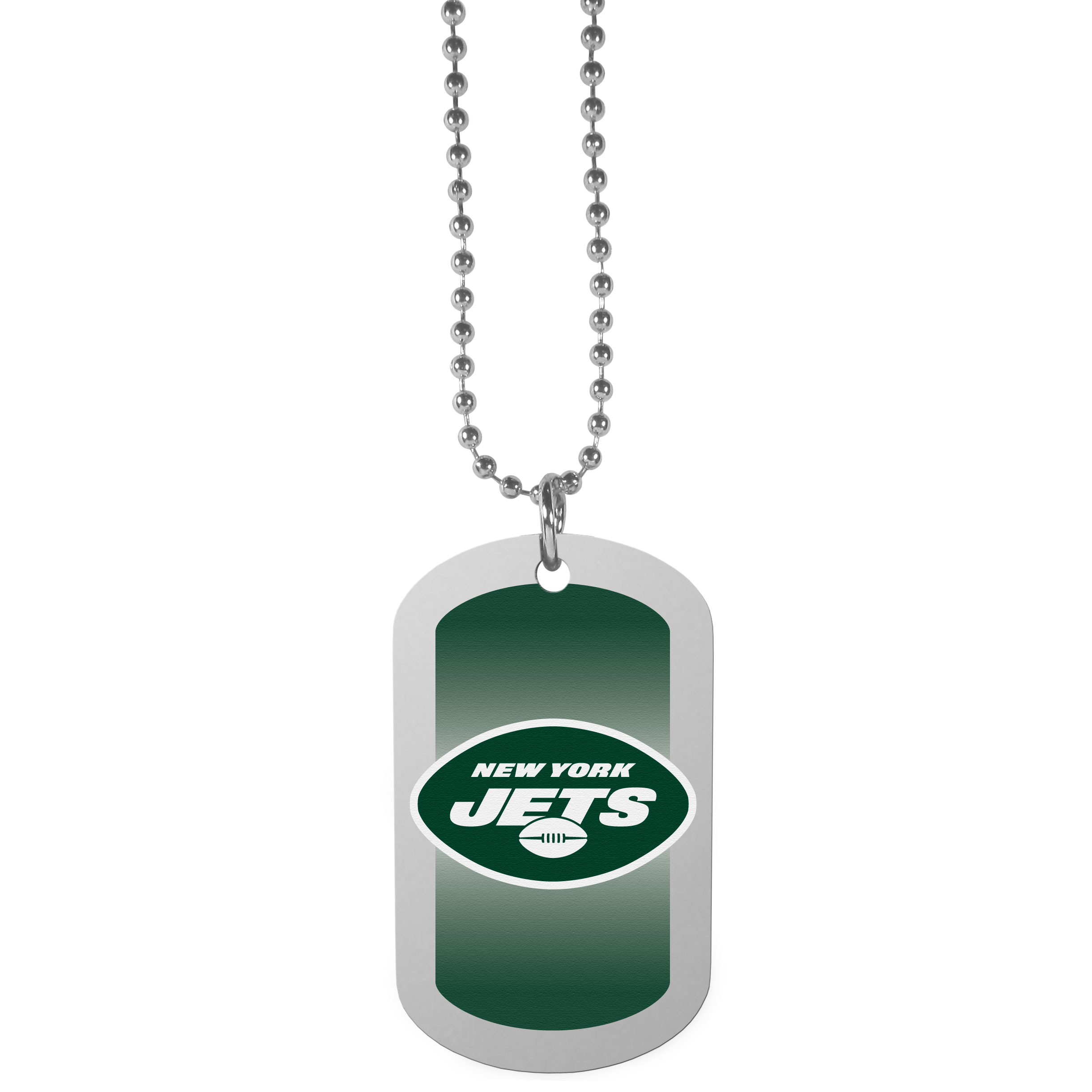 New York Jets Team Tag Necklace - Dog tag necklaces are a fashion statement that is here to stay. The sporty version of the classic tag features a gradient print in team colors featuring a full color team logo over a high polish tag to create a bold and sporty look. The tag comes on a 26 inch ball chain with a ball and joint clasp. Any New York Jets would be proud to wear this attractive fashion accessory.