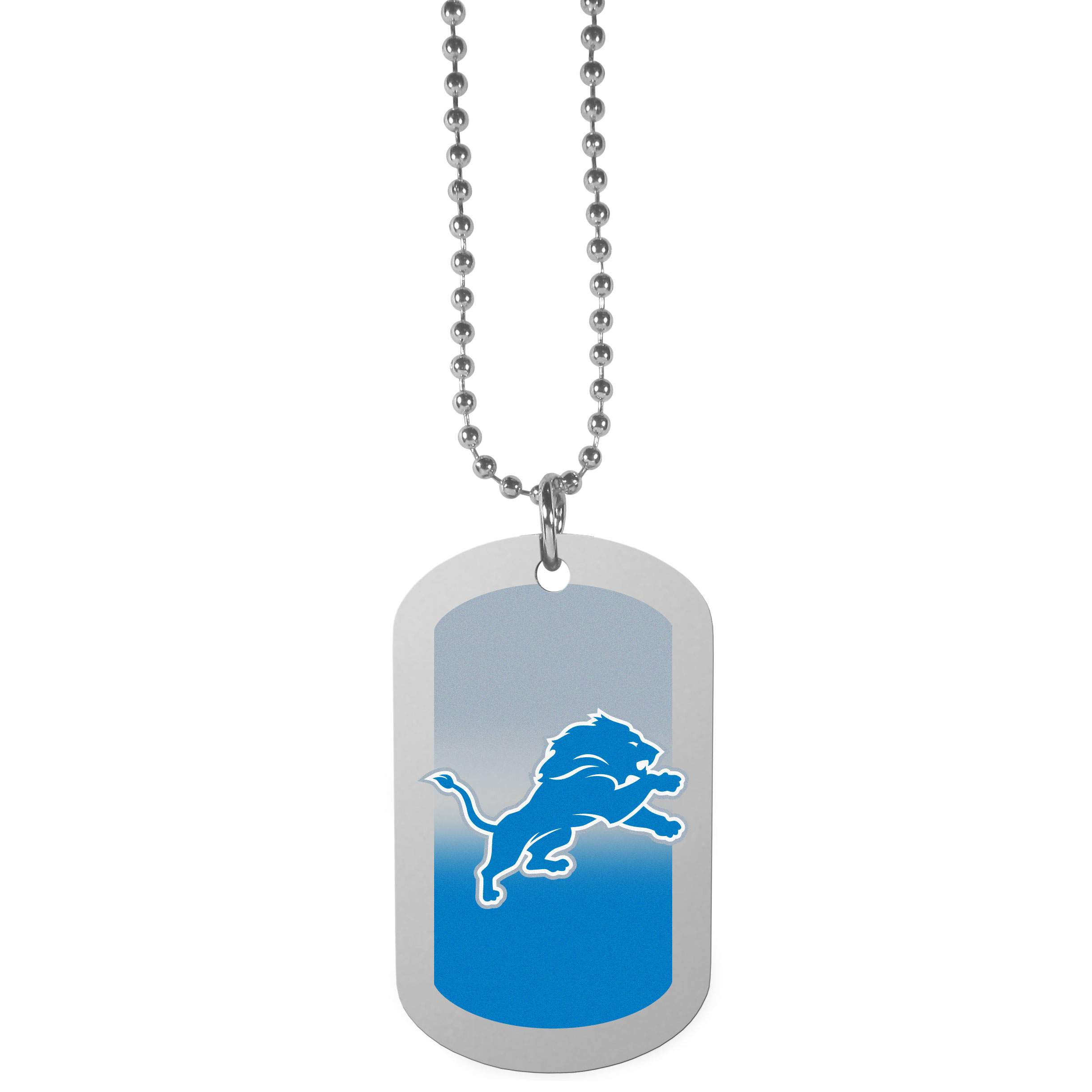 Detroit Lions Team Tag Necklace - Dog tag necklaces are a fashion statement that is here to stay. The sporty version of the classic tag features a gradient print in team colors featuring a full color team logo over a high polish tag to create a bold and sporty look. The tag comes on a 26 inch ball chain with a ball and joint clasp. Any Detroit Lions would be proud to wear this attractive fashion accessory.