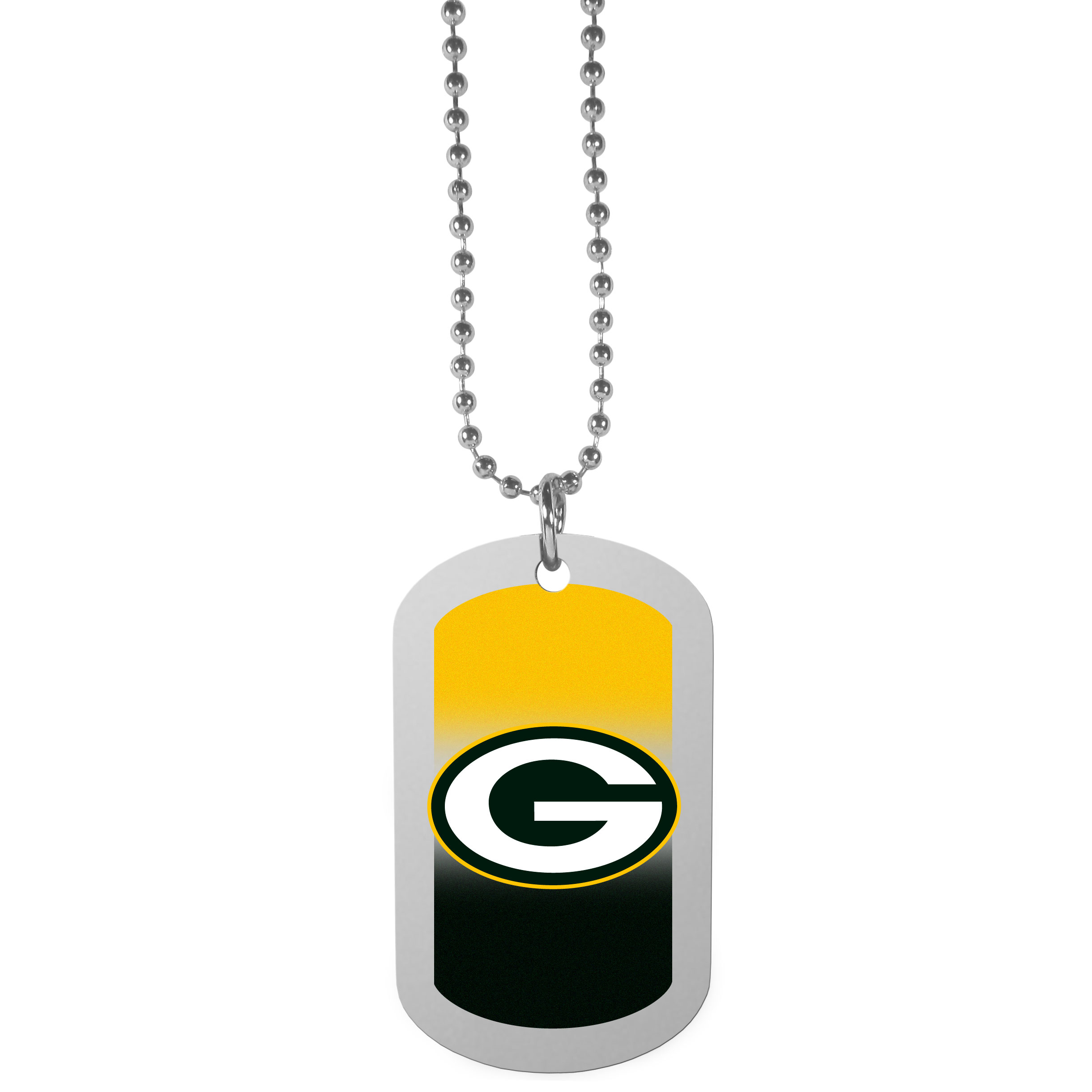 Green Bay Packers Team Tag Necklace - Dog tag necklaces are a fashion statement that is here to stay. The sporty version of the classic tag features a gradient print in team colors featuring a full color team logo over a high polish tag to create a bold and sporty look. The tag comes on a 26 inch ball chain with a ball and joint clasp. Any Green Bay Packers would be proud to wear this attractive fashion accessory.