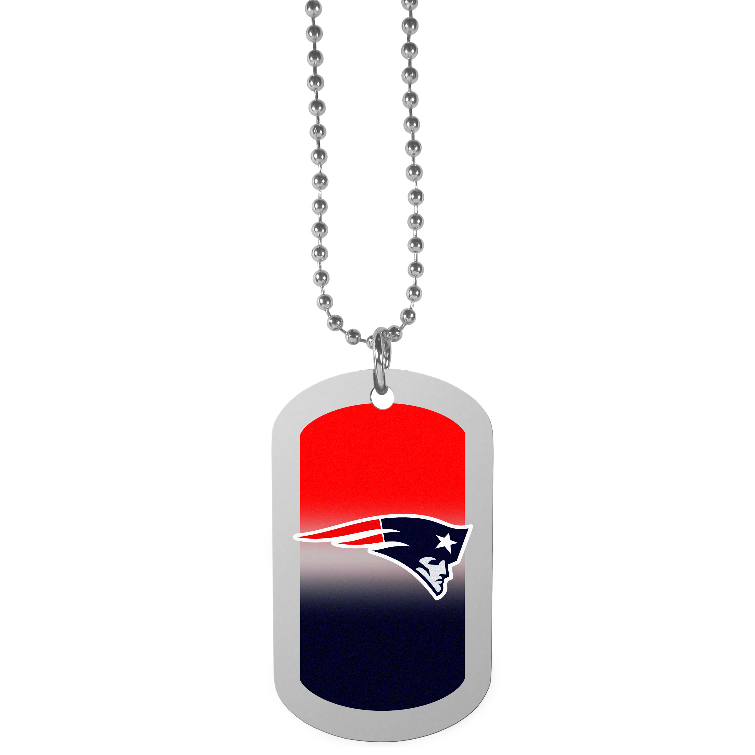 New England Patriots Team Tag Necklace - Dog tag necklaces are a fashion statement that is here to stay. The sporty version of the classic tag features a gradient print in team colors featuring a full color team logo over a high polish tag to create a bold and sporty look. The tag comes on a 26 inch ball chain with a ball and joint clasp. Any New England Patriots would be proud to wear this attractive fashion accessory.