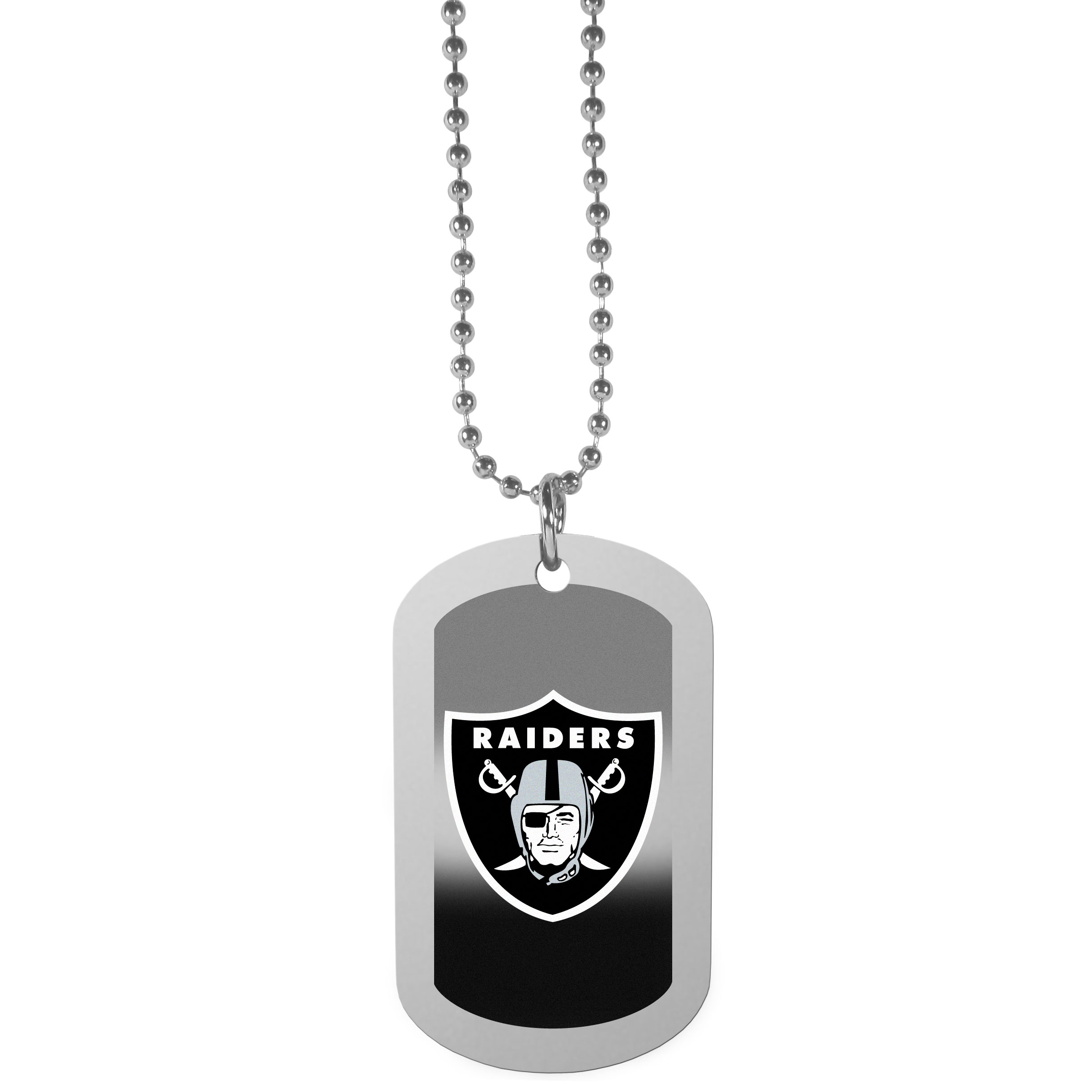 Oakland Raiders Team Tag Necklace - Dog tag necklaces are a fashion statement that is here to stay. The sporty version of the classic tag features a gradient print in team colors featuring a full color team logo over a high polish tag to create a bold and sporty look. The tag comes on a 26 inch ball chain with a ball and joint clasp. Any Oakland Raiders would be proud to wear this attractive fashion accessory.