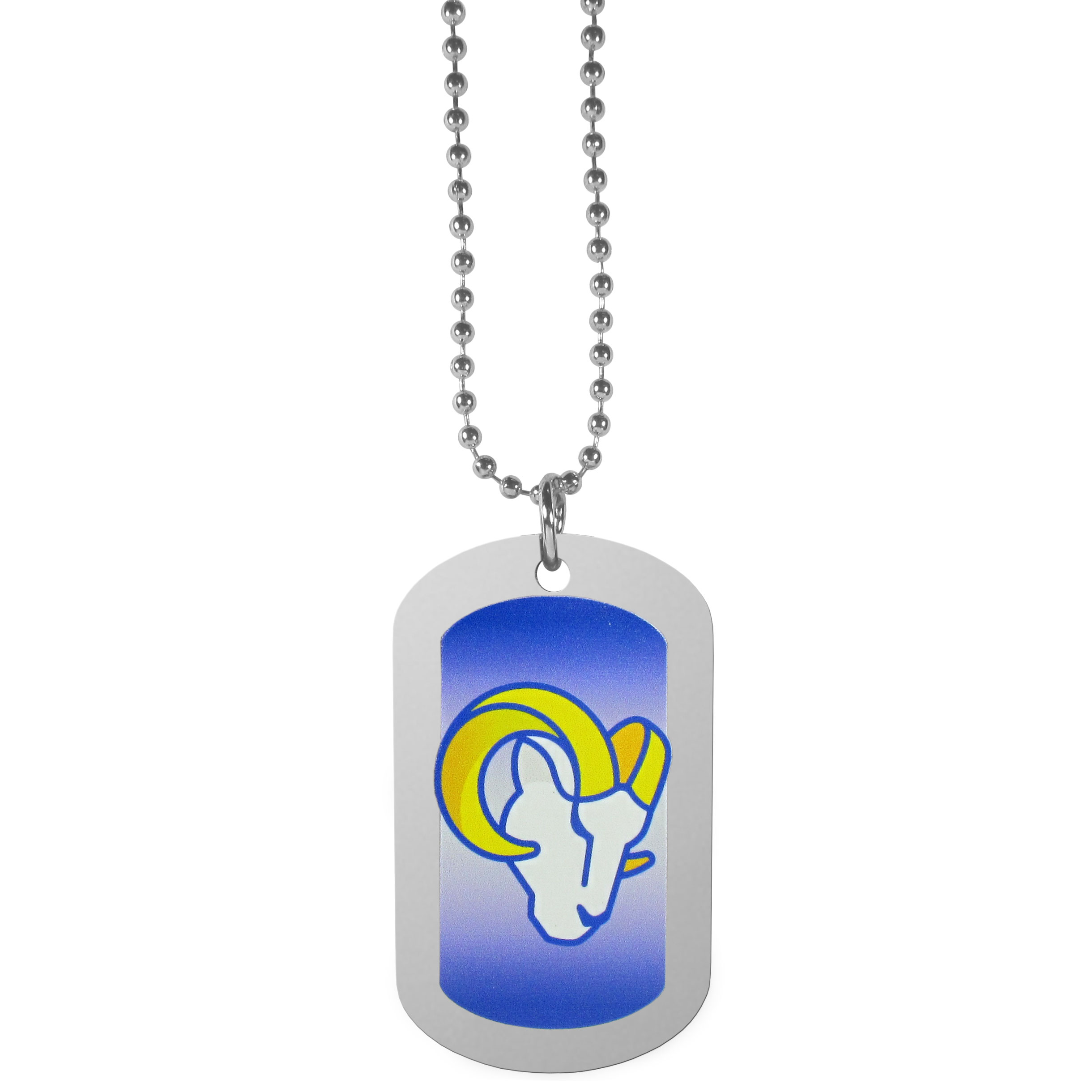 Los Angeles Rams Team Tag Necklace - Dog tag necklaces are a fashion statement that is here to stay. The sporty version of the classic tag features a gradient print in team colors featuring a full color team logo over a high polish tag to create a bold and sporty look. The tag comes on a 26 inch ball chain with a ball and joint clasp. Any Los Angeles Rams would be proud to wear this attractive fashion accessory.