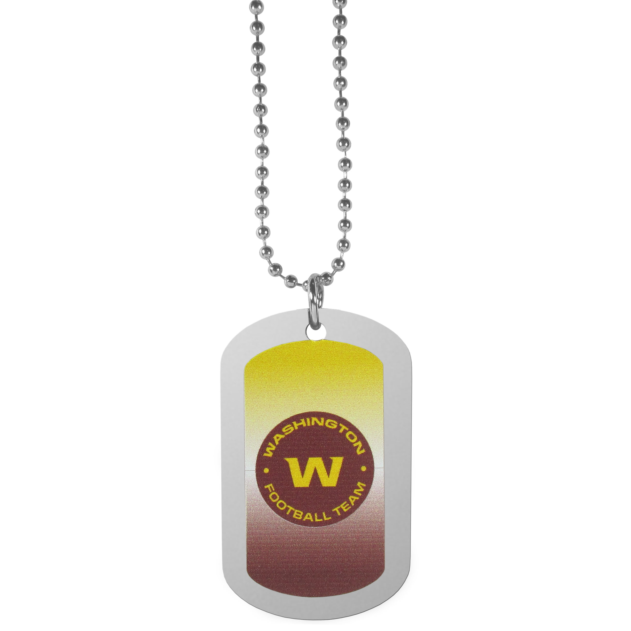 Washington Redskins Team Tag Necklace - Dog tag necklaces are a fashion statement that is here to stay. The sporty version of the classic tag features a gradient print in team colors featuring a full color team logo over a high polish tag to create a bold and sporty look. The tag comes on a 26 inch ball chain with a ball and joint clasp. Any Washington Redskins would be proud to wear this attractive fashion accessory.