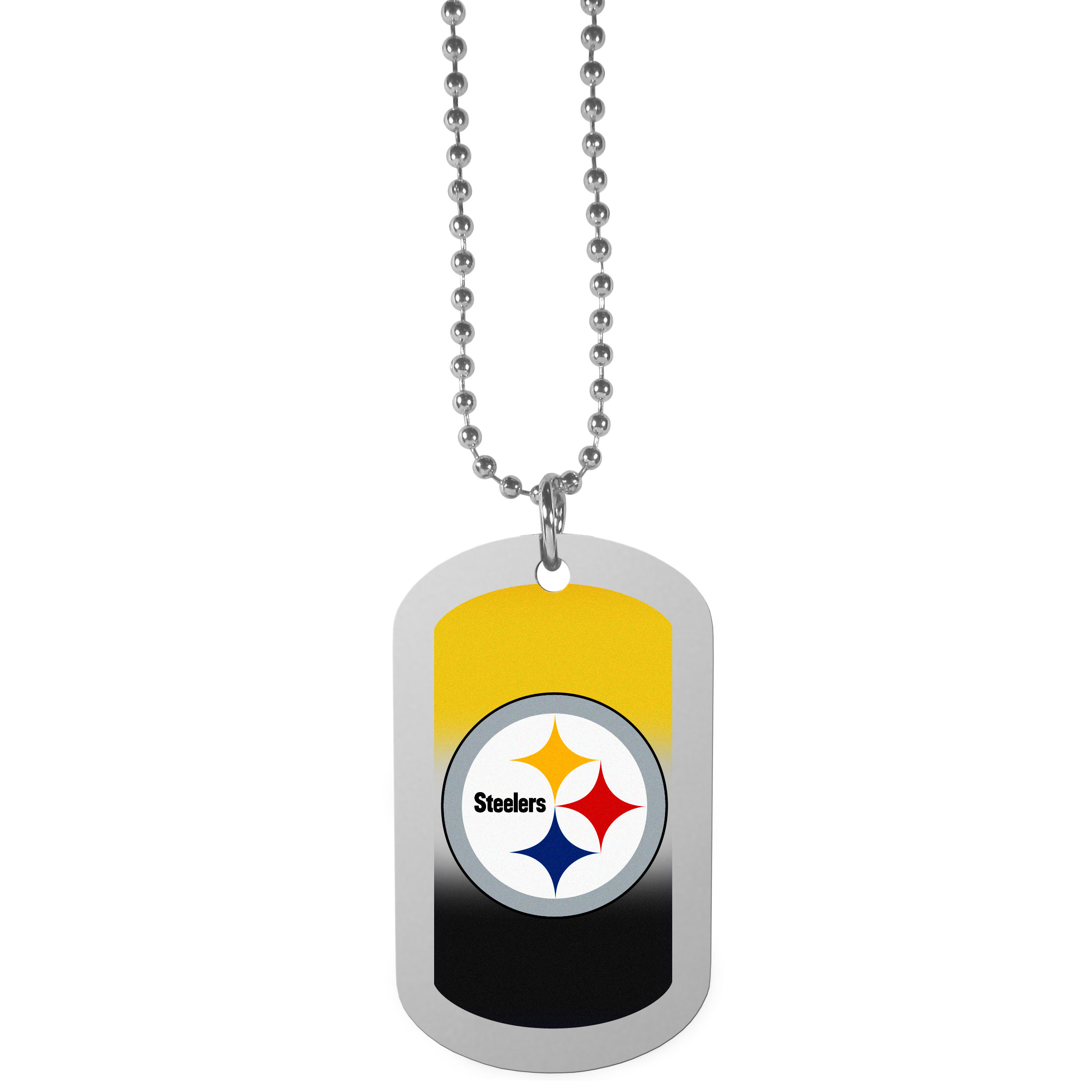Pittsburgh Steelers Team Tag Necklace - Dog tag necklaces are a fashion statement that is here to stay. The sporty version of the classic tag features a gradient print in team colors featuring a full color team logo over a high polish tag to create a bold and sporty look. The tag comes on a 26 inch ball chain with a ball and joint clasp. Any Pittsburgh Steelers would be proud to wear this attractive fashion accessory.
