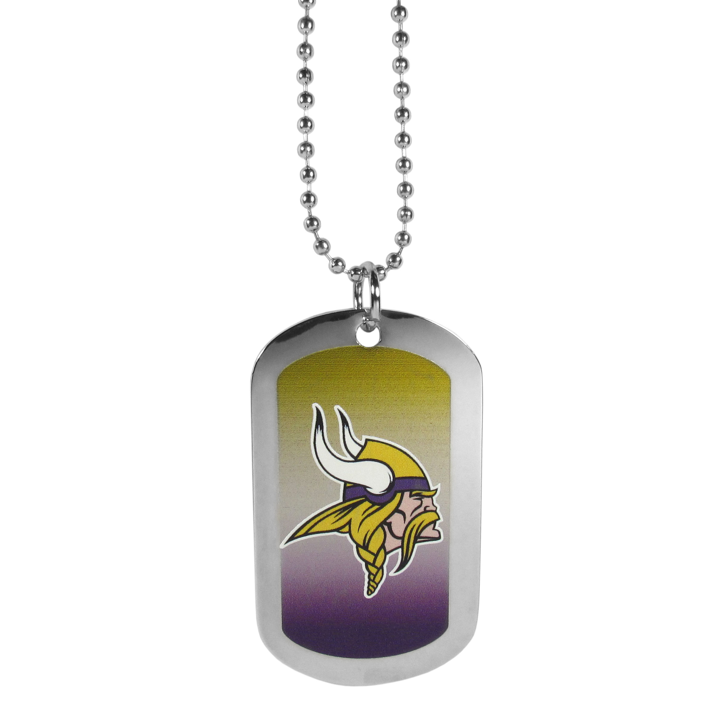 Minnesota Vikings Team Tag Necklace - Dog tag necklaces are a fashion statement that is here to stay. The sporty version of the classic tag features a gradient print in team colors featuring a full color team logo over a high polish tag to create a bold and sporty look. The tag comes on a 26 inch ball chain with a ball and joint clasp. Any Minnesota Vikings would be proud to wear this attractive fashion accessory.
