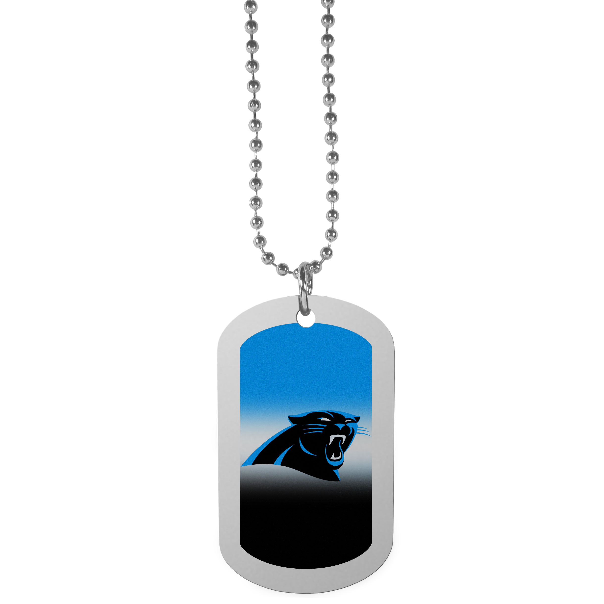 Carolina Panthers Team Tag Necklace - Dog tag necklaces are a fashion statement that is here to stay. The sporty version of the classic tag features a gradient print in team colors featuring a full color team logo over a high polish tag to create a bold and sporty look. The tag comes on a 26 inch ball chain with a ball and joint clasp. Any Carolina Panthers would be proud to wear this attractive fashion accessory.
