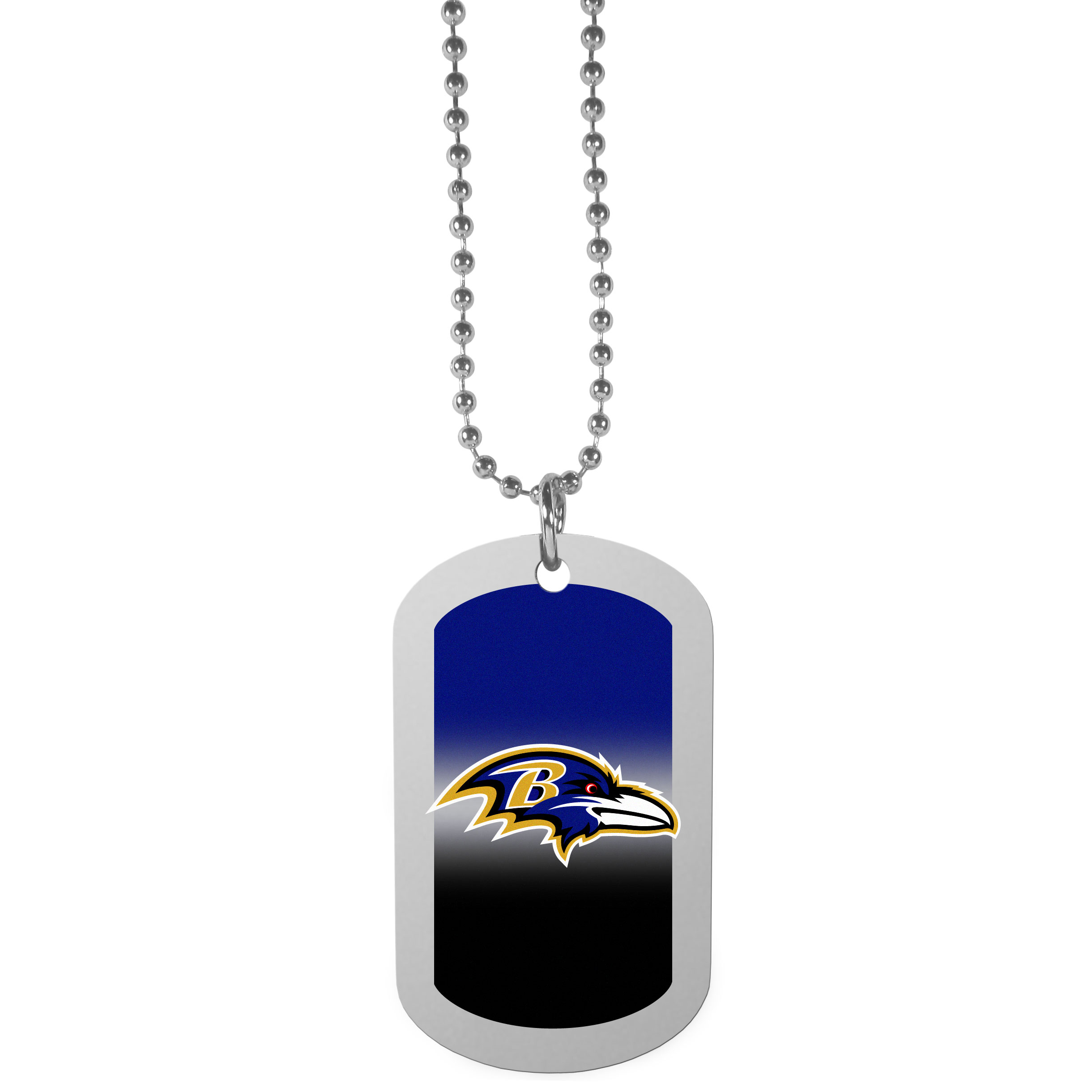 Baltimore Ravens Team Tag Necklace - Dog tag necklaces are a fashion statement that is here to stay. The sporty version of the classic tag features a gradient print in team colors featuring a full color team logo over a high polish tag to create a bold and sporty look. The tag comes on a 26 inch ball chain with a ball and joint clasp. Any Baltimore Ravens would be proud to wear this attractive fashion accessory.