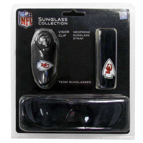 NFL Sunglass Set - Kansas City Chiefs - This NFL sunglass set includes a pair of our high quality team sunglasses, our 3 in 1 visor clip, and neoprene strap. A great value! Officially licensed NFL product Licensee: Siskiyou Buckle Thank you for visiting CrazedOutSports.com