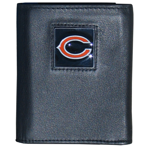 Chicago Bears NFL Trifold Wallet  - Officially licensed Executive Chicago Bears NFL Trifold Wallets are made of high quality fine grain leather with a sculpted Chicago Bears emblem. Check out our entire line of  NFL Chicago Bears merchandise! Officially licensed NFL product Licensee: Siskiyou Buckle .com