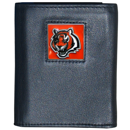 Cincinnati Bengals NFL Trifold Wallet - Officially licensed Executive Cincinnati Bengals NFL Trifold Wallets are made of high quality fine grain leather with a sculpted Cincinnati Bengals team emblem. Check out our entire line of NFL Cincinnati Bengals merchandise! Officially licensed NFL product Licensee: Siskiyou Buckle .com