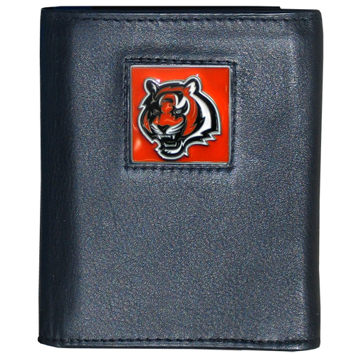 Cincinnati Bengals - NFL Trifold Wallet in a Window Box - Our Executive Trifolds are made of high quality fine grain leather with a sculpted NFL team emblem. Packaged in window box that can be hung by a peg or stacked on a shelf. Check out our entire line of  NFL merchandise! Officially licensed NFL product Licensee: Siskiyou Buckle .com