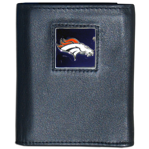 Denver Broncos NFL Trifold Wallet in a Window Box - Officially licensed Executive Trifolds are made of high quality fine grain leather with a sculpted NFL team emblem. Packaged in window box that can be hung by a peg or stacked on a shelf. Check out our entire line of  NFL merchandise! Officially licensed NFL product Licensee: Siskiyou Buckle .com