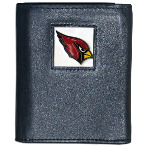 Arizona Cardinals NFL Leather and Nylon Trifold Wallet  - Officially licensed Arizona Cardinals NFL collectors leather/nylon tri-fold wallet features a sculpted and hand painted Arizona Cardinals square on a black leather trifold wallet. Includes an ID window, slots for credit cards and clear plastic photo sleeves. For a sporty feel, the liner of the Arizona Cardinals NFL Leather and Nylon Trifold Wallet is made of high quality nylon. Officially licensed NFL product Licensee: Siskiyou Buckle Thank you for visiting CrazedOutSports.com