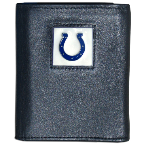 Indianapolis Colts - NFL Trifold Wallet in a Window Box - Our Executive Trifolds are made of high quality fine grain leather with a sculpted NFL team emblem. Packaged in window box that can be hung by a peg or stacked on a shelf. Check out our entire line of  NFL merchandise! Officially licensed NFL product Licensee: Siskiyou Buckle .com